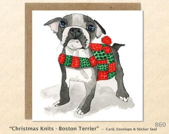 Boston Terrier in a Christmas Sweater Christmas Card Dog Card Blank Note Card Art Card Greeting Card Watercolor Card Holiday Card