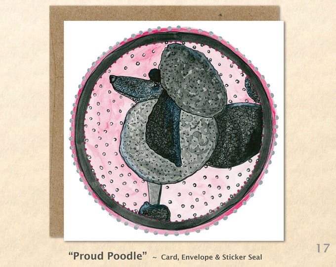 Proud Poodle Card, Dog Cards, Dog Note Cards, Poodle Cards, Fun Dog Cards, Cute Dog Cards, Blank Note Cards, Art Cards, Square
