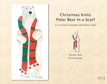 Christmas Card Polar Bear in a Christmas Scarf Note Card Blank Watercolor Card Art Card Note Card
