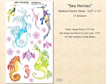 Sea Horse Stickers Fish Sticker Sand Dollar Sticker Nautical Sticker Beach Sticker Cute Fish Sticker Art Sticker