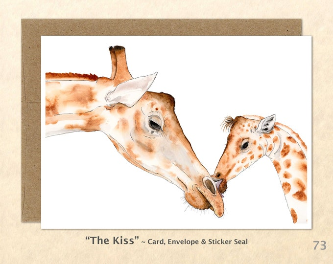 Giraffe Mom and Baby Note Card, Giraffe Cards, Baby Animal Cards, Wildlife Note Card, Family Love Cards, Cute Animals, Art Cards