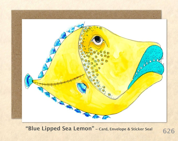 Fantasy Fish Note Card, Fish Cards, Fun Animals, Wacky Animals, Blank Note Card, Art Cards, Greeting Cards
