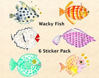 Wacky Fish 6 Sticker Set, Fish Stickers, Fantasy Fish Stickers, Fun Animal Stickers, Water Bottle Stickers, Scrapbook Stickers