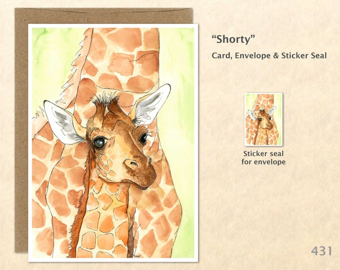 Giraffe Mother and Baby Note Card Giraffe Card Baby Shower Baby Giraffe Card Cute Baby Animals Blank Art Note Card Greeting Cards Watercolor