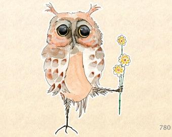 Owl Sticker Flower Sticker Bird Sticker Floral Sticker Cute Animal Sticker Cute Owls Water Bottle Sticker Scrapbooking Sticker Macbook Decal