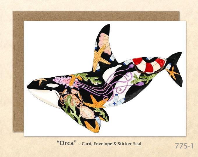 Orca Card Whale Card Dolphin Card Killer Whale Card Eco Note Card Eco Cards Blank Note Card Art Cards Greeting Cards