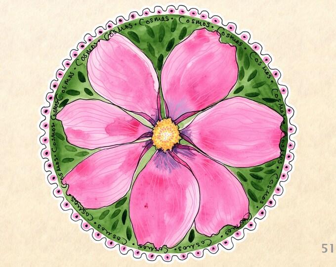 Flower Stickers, Garden Stickers, Decorative Stickers, Cosmos Stickers, Water Bottle Stickers, Scrapbooking Stickers, Macbook Decal