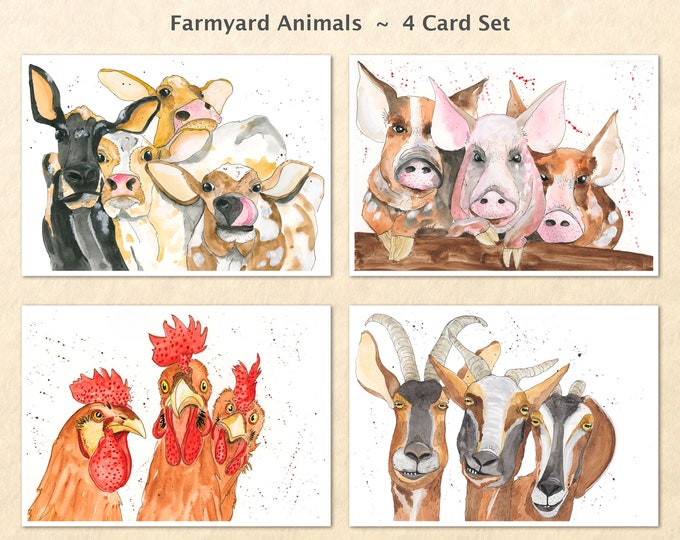 Farm Animal Cards, Chicken Cards, Goat Cards, Cow Cards, Pig Cards, Fun Animal Cards, Blank Note Cards, Art Cards