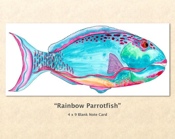 Fantasy Rainbow Parrot Fish Note Card, Fish Card, Fantasy Cards, Blank Note Card, Art Cards, Greeting Cards