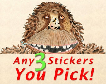 Sticker Pack - Choose Any 3 Stickers, Fun Stickers, Cute Stickers, Wildlife Stickers, You Pick