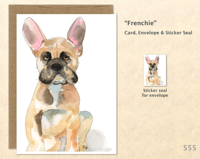 French Bulldog Note Card, Dog Cards, Blank Note Card, Art Cards, Greeting Cards