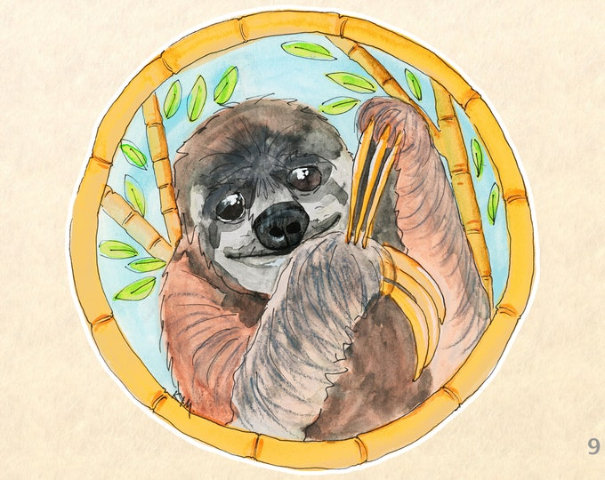 Sloth and Bamboo Sticker Cute Animal Sticker Wildlife Sticker Scrapbook Sticker