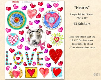 Heart Sticker Sheet, 43 Stickers, Valentine Stickers, Love Stickers, Friendship Stickers, Art Stickers