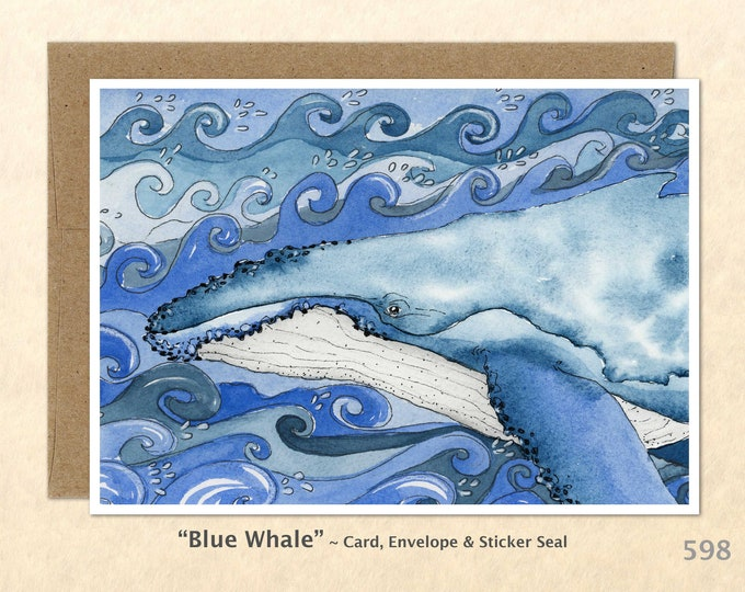 Blue Whale Note Card, Whale Cards, Blank Note Card, Wildlife Card, Art Cards, Greeting Cards