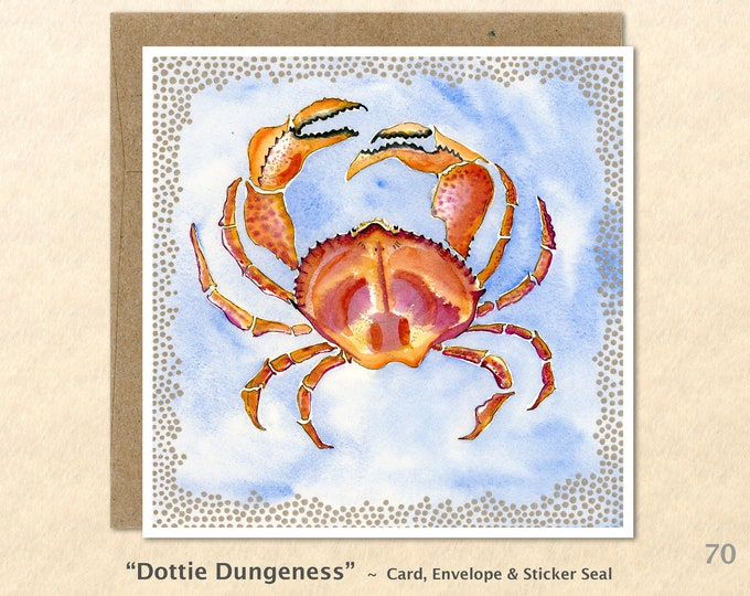 Dungeness Crab Note Card Sea Life Card Blank Note Card Art Cards Greeting Cards Watercolor Card
