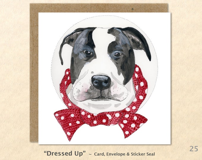 Pit Bull Cards, Mastiff Cards, Dog Cards, Cute Dog Cards, Dog Greeting Cards, Fun Dog Cards, Blank Note Cards, Art Cards, Square
