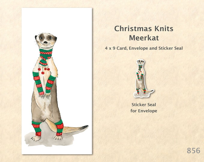 Christmas Card Meerkat Dressed for Christmas Note Card Blank Watercolor Card Art Card Note Card
