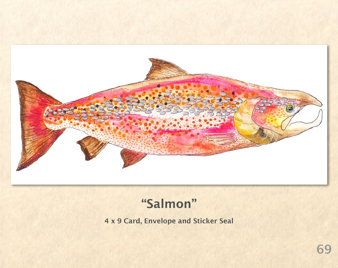 Salmon Note Card Fish Card Wildlife Cards Blank Note Card Art Cards Greeting Cards Watercolor Art