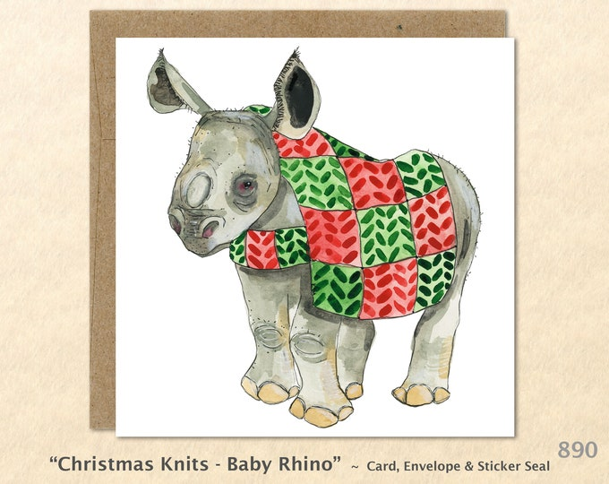 Baby Rhino in a Christmas Sweater Rhinoceros Christmas Card Blank Note Card Art Card Greeting Card Watercolor Card Holiday Card