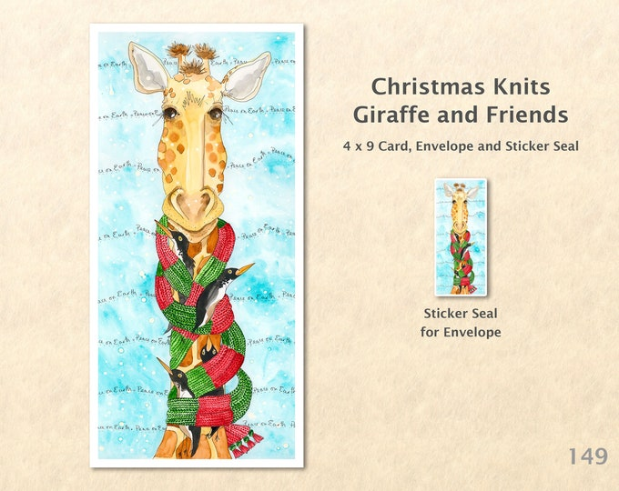 Christmas Card Giraffe in a Christmas Scarf Giraffe and Friends Holiday Note Card Blank Watercolor Card Art Card Note Card