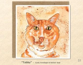 Tabby Cat Note Card Cat Card Cute Cat Card Customizable Blank Note Card Watercolor Art Greeting Cards
