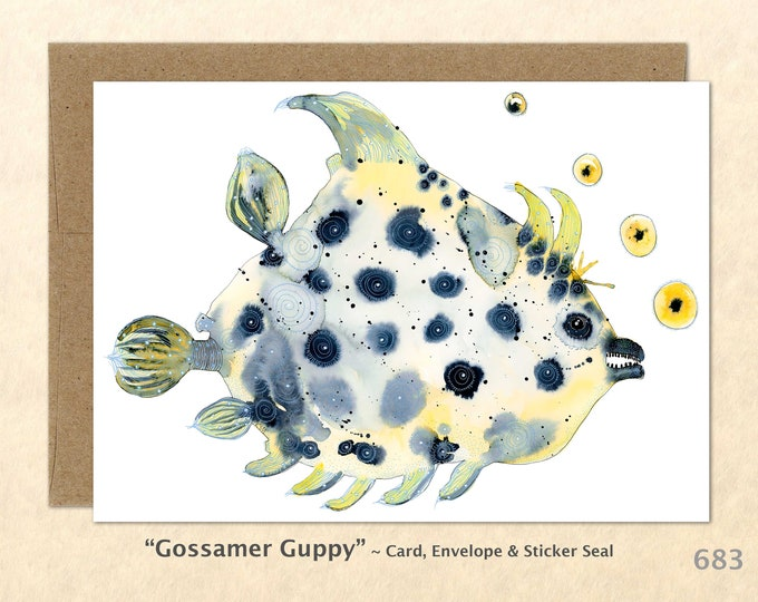Fantasy Fish Note Card, Fish Cards, Silly Fish Cards, Fun Animals Blank Note Card, Art Cards, Greeting Cards