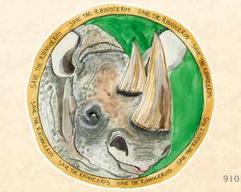 Save the Rhino Sticker Rhinoceros Eco Sticker Endangered Animals Water Bottle Sticker Scrapbooking Stickers Watercolor Art Sticker