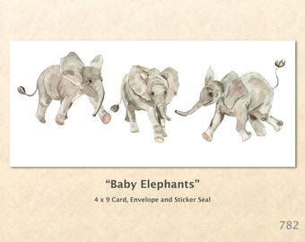 Baby Elephants Note Card Cute Baby Elephants Cute Baby Animals Animal Babies Blank Note Card Art Card Greeting Card