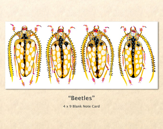 Golden Beetle Note Card, Garden Cards, Gardening Cards, Beetle Cards, Blank Note Card, Art Cards, Greeting Cards