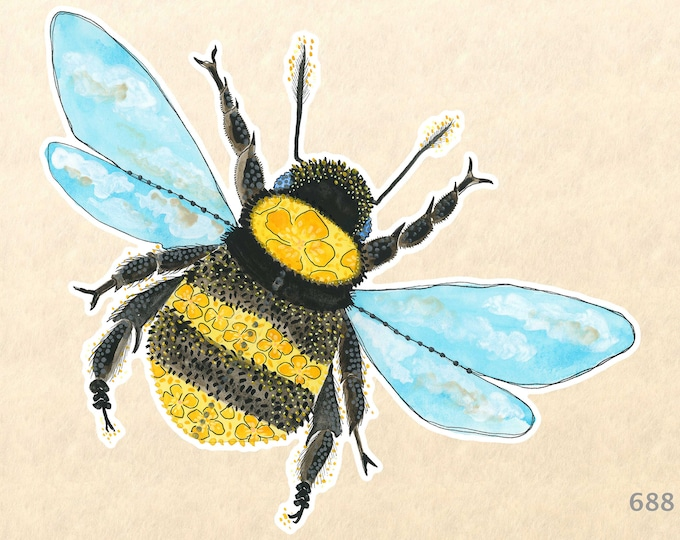 Bumble Bee Stickers, Garden Stickers, Insect Stickers, Decorative Stickers, Water Bottle Stickers, Scrapbooking Stickers, Macbook Decal