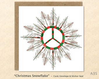 Christmas Peace Sign Snowflake Card Christmas Trees Card Blank Note Card Art Card Greeting Card Watercolor Card Holiday Card