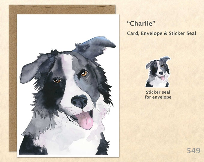 Border Collie Dog Note Card, Dog Cards, Collie Cards, Blank Note Card, Art Cards, Greeting Cards