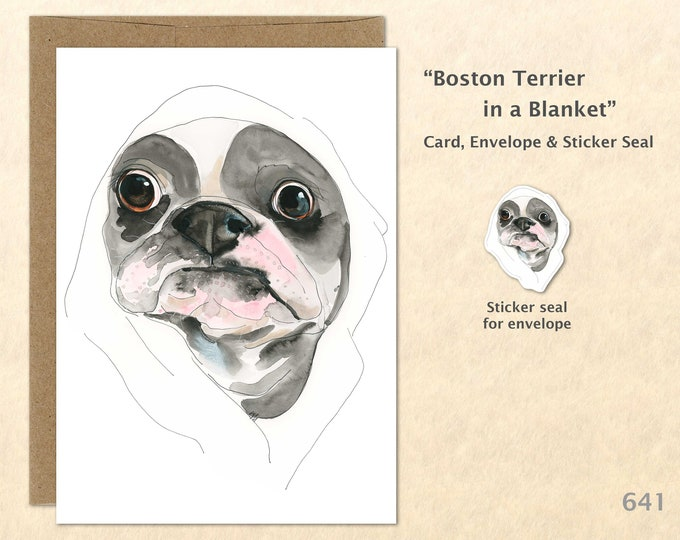Boston Terrier Note Card, Fun Dogs, Cute Dogs, Blank Note Card, Art Cards, Greeting Cards