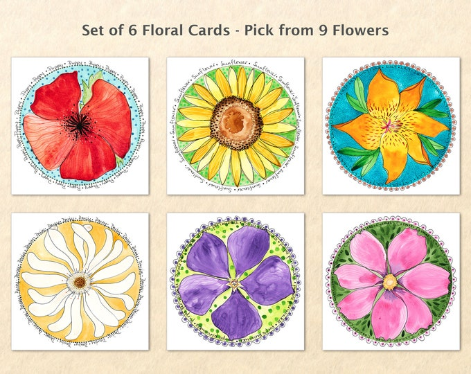 6 Floral Card Set, Pick from 9 Flowers, Flower Cards, Garden Cards, Gardening Cards, Poppy, Cosmos, Sunflower, Daisy, Lily, Aster, Art Cards