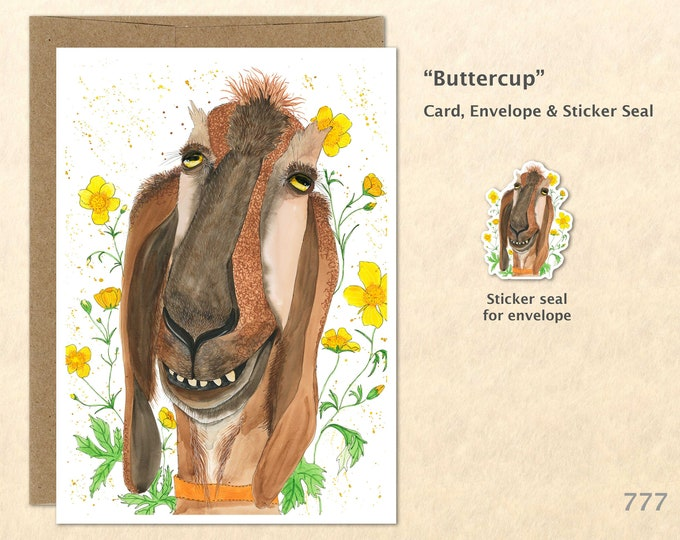 Goat and Buttercups Note Card Goat Card Farm Card Farm Animal Card Blank Note Card Art Card Greeting Card Watercolor Art Card