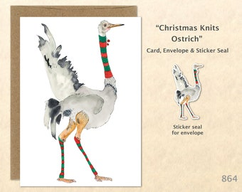Christmas Card Ostrich Dressed for Christmas Holiday Note Card Blank Watercolor Card Art Card Note Card Fun Christmas Cards