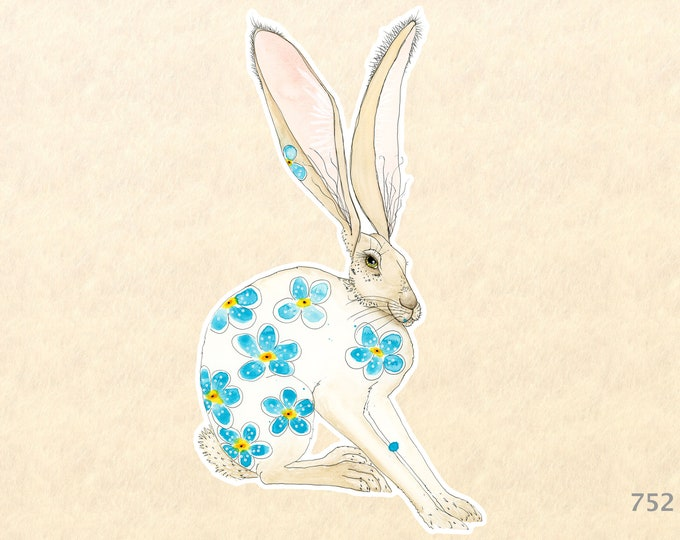 Hare and Blue Flowers Sticker Rabbit Sticker Bunny Sticker Decorative Stickers, Water Bottle Stickers, Scrapbooking Stickers, Macbook Decal
