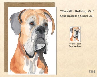 Mastiff Bulldog Mix Dog Note Card, Dog Cards, Mastiff Cards, Bulldog Cards, Blank Note Card, Art Cards, Greeting Cards