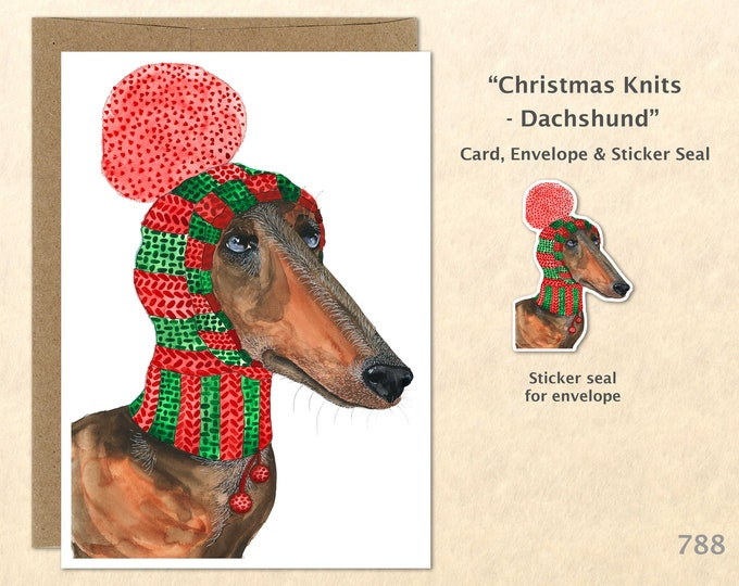 Christmas Card Dachshund Dressed for Christmas Dog Doxen Holiday Note Card Blank Watercolor Card Art Card Cute Dog Card