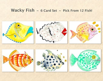 Wacky Fish 6 Card Set, Silly Fish Cards, Fun Fish Cards, Fun Animal Cards, Goofy Animal Cards, Sea Life Cards, Blank Note Cards, Art Cards