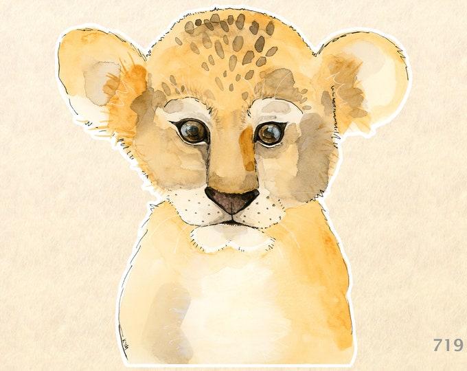 Baby Lion Sticker Lion Cub Sticker Cute Animal Sticker Big Cat Sticker Wildlife Sticker African Animals Laptop Water Bottle Scrapbooking