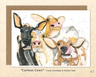 Curious Cows Note Card, Cow Cards, Farm Cards, Farm Yard Animals, Blank Note Card, Art Cards, Greeting Cards