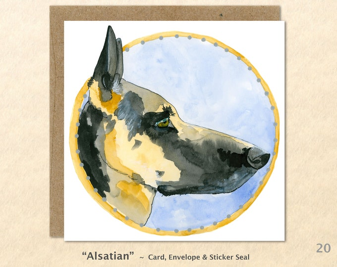 German Shepherd Card, Dog Note Card, Dog Cards, Blank Note Card, Art Cards, Greeting Cards, Square