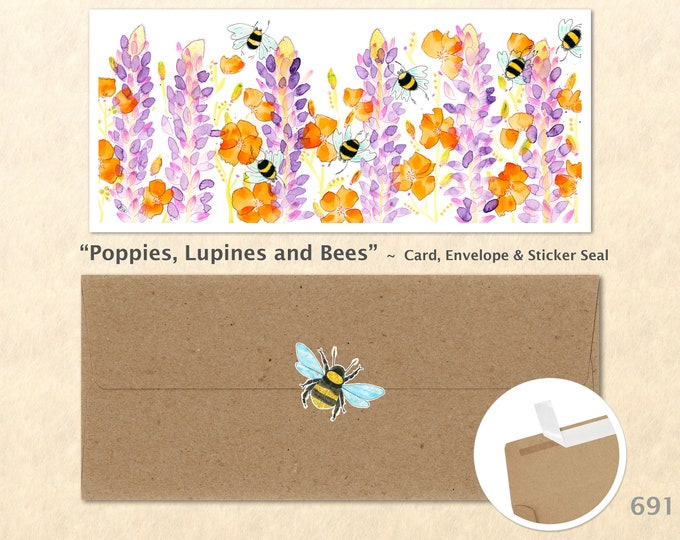Poppies, Lupine and Bees Card, Floral Cards, Flower Cards, Garden Cards, Gardening Cards, Greeting Cards