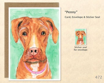 Pit Bull Lab Mix Dog Note Card, Dog Cards, Lab Cards, Labrador Cards, Blank Note Card, Art Cards, Greeting Cards