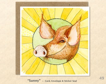 Pig Note Note Card Sunny Farm Card Farm Yard Animals Sunshine Customizable Blank Note Card Watercolor Art Greeting Card