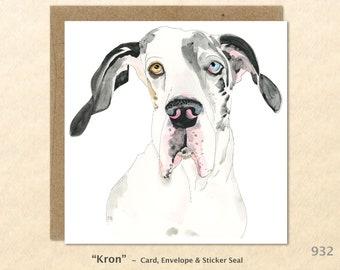 Great Dane Note Card  Dog Note Card Dog Greeting Card Blank Note Card Art Card Greeting Card Watercolor Card