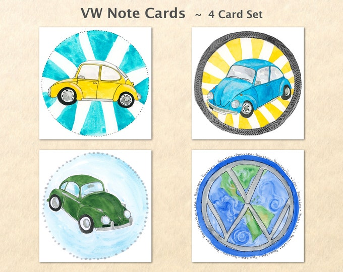 VW Cards, VW Bug Cards, VW Beetle Cards, Volkswagen Cards, Car Cards, Note Cards, Blank Note Cards, Art Cards, Greeting Cards