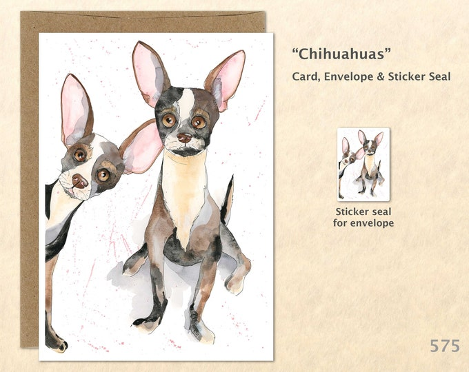 Cute Chihuahuas Dog Note Card, Dog Cards, Chihuahua Cards, Blank Note Card, Art Cards, Greeting Cards