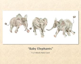 Baby Elephants Note Card Cute Baby Elephants Cute Baby Animals Animal Babies Blank Note Card Art Card Greeting Card